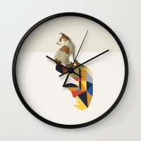 jack russell Wall Clocks featuring Walking Shadow, Jack Russell by Jason Ratliff