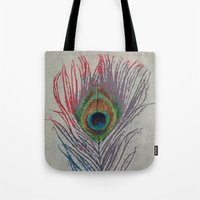 peacock feather Tote Bags featuring Peacock Feather by Michael Creese