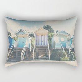 beach huts photograph Rectangular Pillow