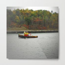 Boat Passing Light House Metal Print