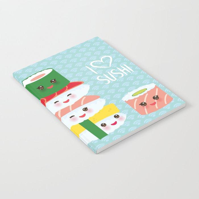 3debcb60d I love sushi. Kawaii funny sushi set with pink cheeks and big eyes, emoji.  Blue japanese pattern Notebook by ekaterinap | Society6