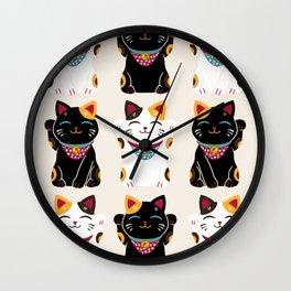 Maneki Neko - Lucky Cats Wall Clock