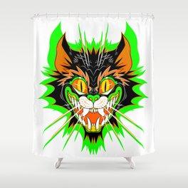 SPOOKY CAT (GREEN BURST) Shower Curtain