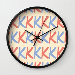 Upper Case Letter K Pattern Wall Clock