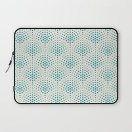 Aqua Teal Turquoise Solid Color Polka Dot Scallop Pattern on Alabaster White - Aquarium SW 6767 Laptop Sleeve