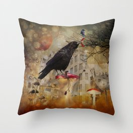 Raven in a City Throw Pillow