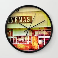 cinema Wall Clocks featuring Abandoned Cinema by Elina Cate