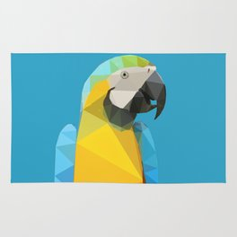 Low Poly Blue and Gold Macaw Rug