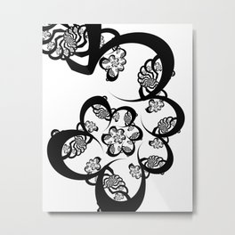 Black and White Fractal Spiral Metal Print