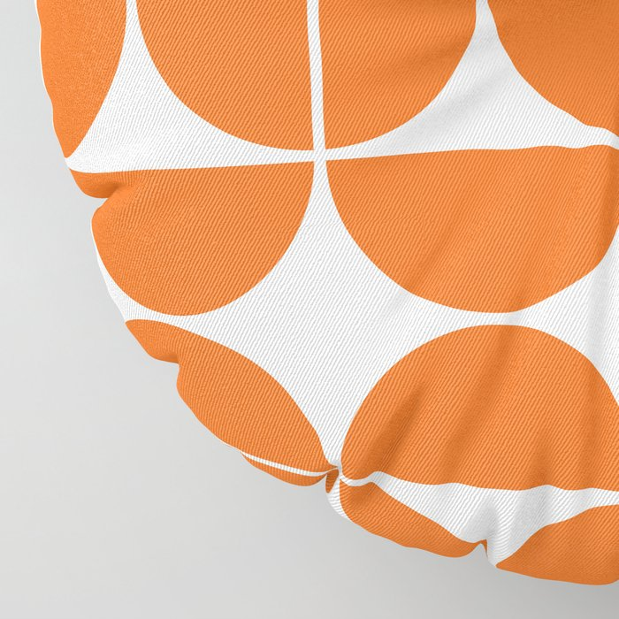 Mid Century Modern Geometric 04 Orange Floor Pillow