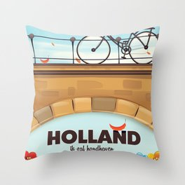Holland Bicycle travel poster Throw Pillow
