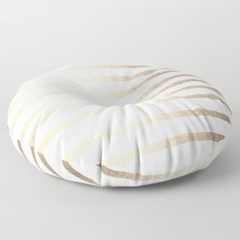 Simply Drawn Stripes in White Gold Sands Floor Pillow