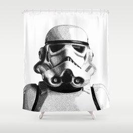 Stormtrooper Hand Drawn Dotwork - StarWars Pointillism Artwork Shower Curtain