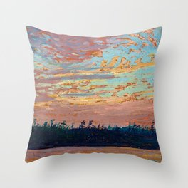 Tom Thomson - Sunset Sky - Canada, Canadian Oil Painting - Group of Seven Throw Pillow