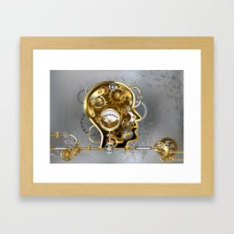 Steampunk Head with Manometer Framed Art Print