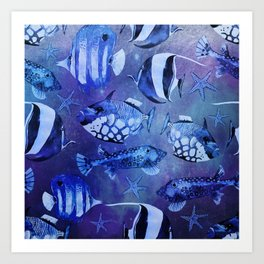 Watercolor fish pattern dark blue Art Print