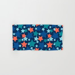 Colorful stars over blue background Hand & Bath Towel
