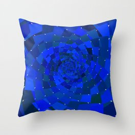 Sapphire Blue Geometric Cosmic Galaxy Throw Pillow