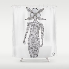 Flowers from my garden drawing Shower Curtain