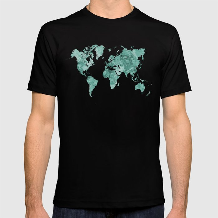 World map in watercolor green T-shirt