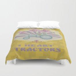 I Heart Tractors - mustard Duvet Cover