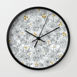 Pattern black and white flowers Wall Clock