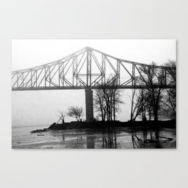 Foggy Morning Bridge Canvas Print