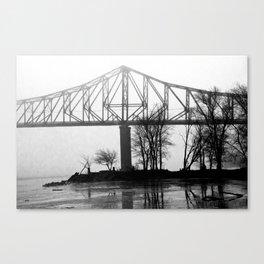Foggy Morning Bridge Canvas Print