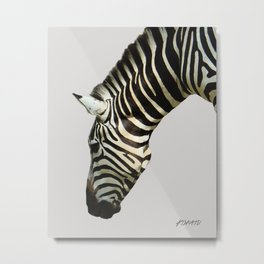 Zebra by Kokatu GREY Metal Print
