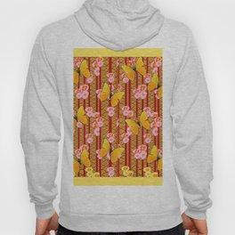 Yellow Art Deco Butterflies Pink Floral Pattern Art Hoody