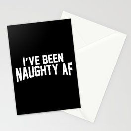 Naughty AF - Black Stationery Cards
