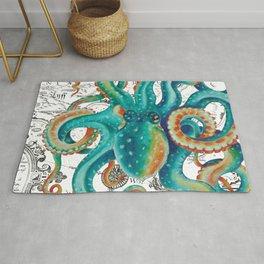 Teal Octopus Tentacles Vintage Map Nautical Rug