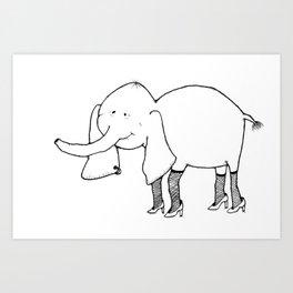 Elephant on the Town Art Print