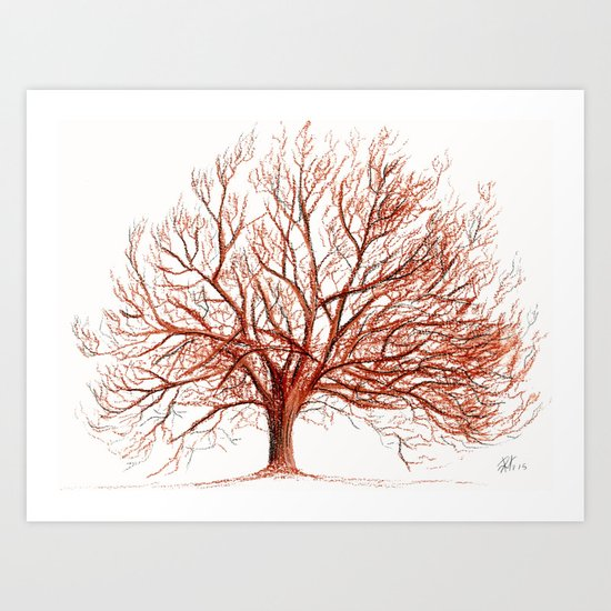 Lonely tree in autumn Art Print