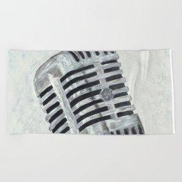 Vintage Microphone Beach Towel