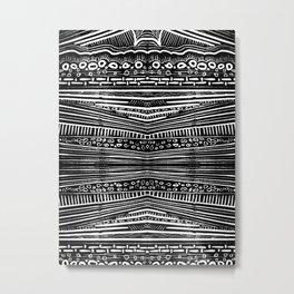 Linocut Tribal Pattern Metal Print
