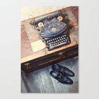 typewriter Canvas Prints featuring Typewriter by Shaun Lowe