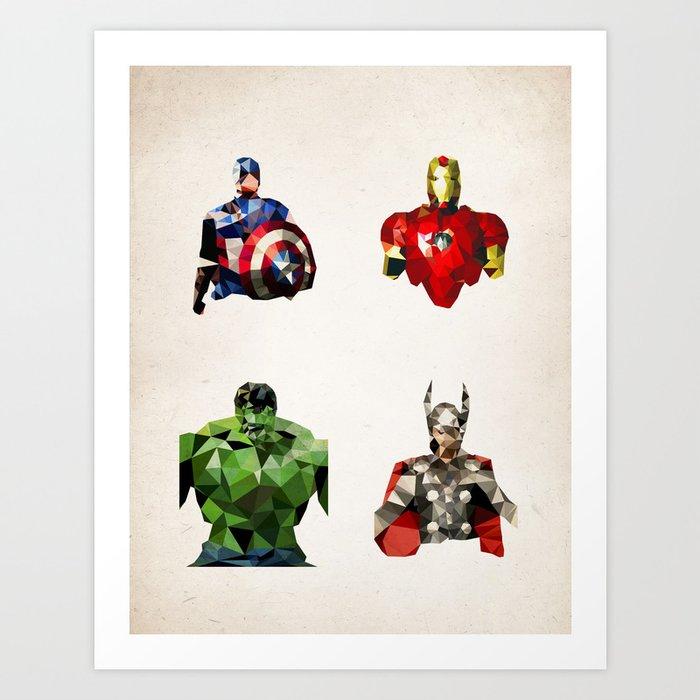 Polygon Heroes - Avengers Art Print