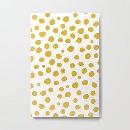 Mustard Yellow Dots Metal Print