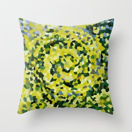 Yellow and Blue Crystallized Swirls Throw Pillow