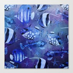 Watercolor fish pattern dark blue Canvas Print