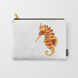 Seahorse decor orange red beach house design Carry-All Pouch