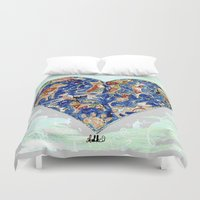 furry Duvet Covers featuring FURRY LOVE by Adka