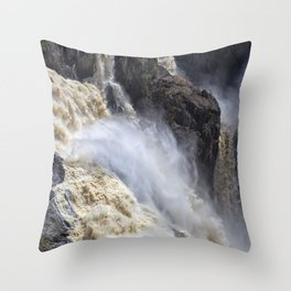 Raging thunder of the waterfall Throw Pillow