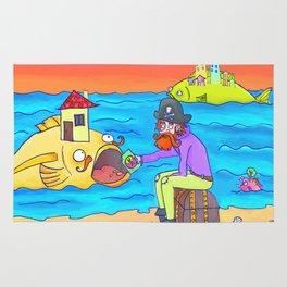 Pirate feeding his fish-home! Rug
