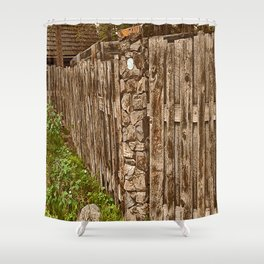Old Rustic Wooden Fence Shower Curtain