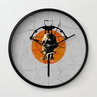 the walking dead Wall Clocks featuring Dead Walking by Green'n'Black