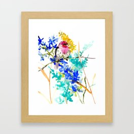 House Finch and Wildflowers Framed Art Print