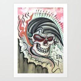 Skull, Comb Over. Art Print