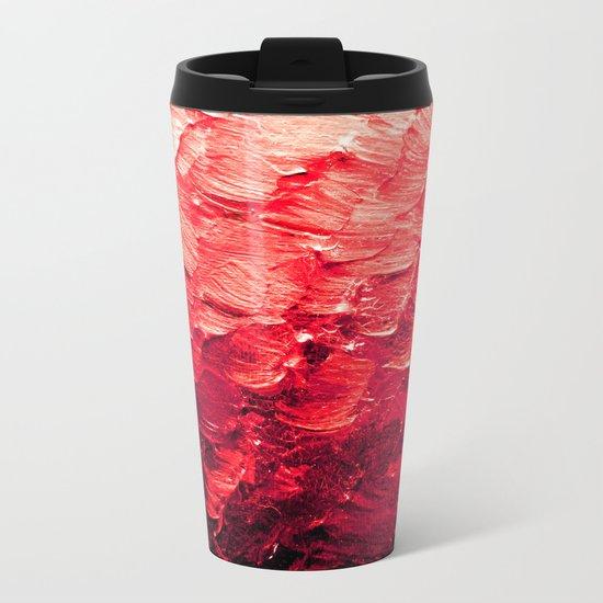 MERMAID SCALES 4 Red Vibrant Ocean Waves Splash Crimson Strawberry Summer Ombre Abstract Painting Metal Travel Mug
